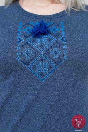 Меланж майка с голубой вышивкой