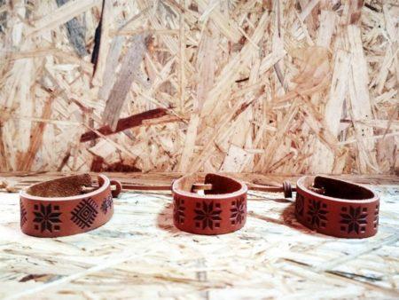 Кожаные браслеты с белорусским орнаментом